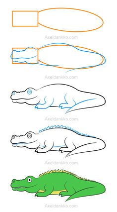 Draw a crocodile zeichnen mit kinder pinterest - Dessiner un crocodile ...