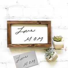 Handwritten sign A personalized handwriting custom framed sign as a remembrance of a loved one. We take a good quality photograph of handwriting and use it to create a one-of-a-kind, a customized sign that will have actual handwriting on it! Simple Gifts, Unique Gifts, Craft Gifts, Diy Gifts, Brick Crafts, Memorial Gifts, Memorial Ideas, Inspirational Signs, Great Housewarming Gifts