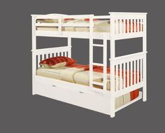 Bunk Bed Twin over Twin Mission style in White with Twin Trundle ** Want to know more, click on the image.