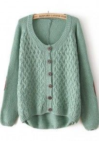 Pea-Green Cross Print Round Neck Cotton Blend Cardigan - a lot of inexpensive sweaters