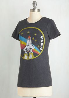 Blast-Off From the Past Tee. This retro-inspired graphic tee is so cute, youll wake up counting down the minutes til you can put it on! #grey #modcloth