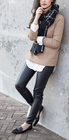 plaid, camel over blouse, leather