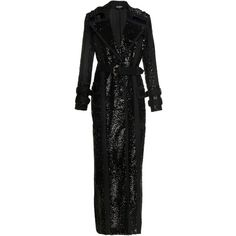 Balmain Paillettes Trench Coat (81.530 RON) ❤ liked on Polyvore featuring outerwear, coats, black, trench coat, balmain coat, full length trench coat, cotton coat and balmain