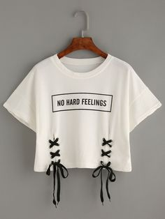 new summer crop tops women t shirt letter print short sleeve lace up cotton loose sexy white t-shirt dance tee tops Shop Letter Print Lace-up Crop T-shirt online. SheIn offers Letter Print Lace-up Crop T-shirt & more to fit your fashionable needs. Crop Top Outfits, Crop Top And Shorts, Cute Casual Outfits, Stylish Outfits, Crop Tee, Loose Crop Top, Crop Top Shirts, T Shirt And Shorts, Casual Shorts