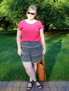 DIY FATSHION - SUMMER 30X30: ONE.. - ootd, pink, justfab sandals, tribal print, plus size shorts, black, cuyana tote, forever21+ shorts, fatshion, psblogger, plus size, plus-size, plus size blogger, plus size fashion, bloggers, fat fashion, outfit of the day, plus size outfit, casual, what to wear, simple summer outfit, 30x30