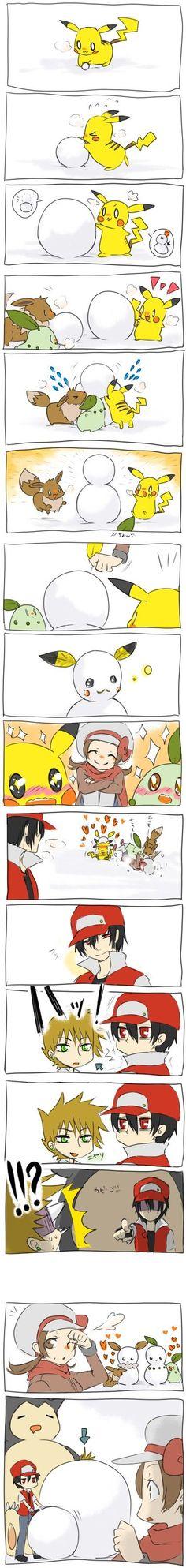 Pikachu, Eevee, Chikorita, Lyra/Kotone (Pokémon), Red (Pokémon), Green (Pokémon), Snorlax:
