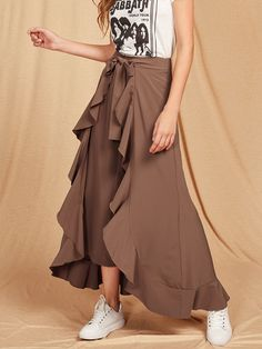 All Boho Plain Flare Leg Loose Zipper Fly High Waist coffee Long Length Ruffle Trim Tie Front Wrap Pants with Belt Wrap Pants, Type Of Pants, Luxury Fashion, Womens Fashion, Suit And Tie, Flare Pants, Ruffle Trim, Fashion News, Fashion Trends