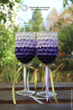 """Купить Свадебные бокалы """"Вечер в Провансе"""" - фиолетовый, свадебные аксессуары, свадебные бокалы, подарок на свадьбу"""