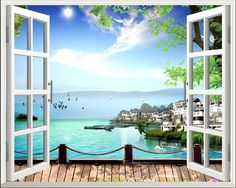 80*100cm Beach 3D Window View Removable Wall Art Stickers Vinyl Decal Home Decor