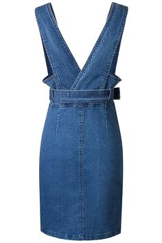 The overall dress is made from denim with simple color, front button closure, slant pocket and belt decoration.