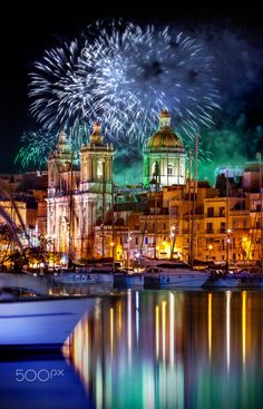 Church il Birgu, Malta by Mario Piercarlo Marinoo - There are 365 churches in Malta Gozo and Comino, one for each day of the year ... and this is what happens when the Maltese are having a party .. I hope it is welcome, bye! P.s a new test to take a picture of fireworks, with a long exposure tecnics.. Bye!