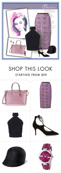 """Lavender Blues"" by michelletheaflack ❤ liked on Polyvore featuring Henri Bendel, Mochi, Martin Grant, Aquazzura, Genie by Eugenia Kim, Gucci, Syna and lavender"