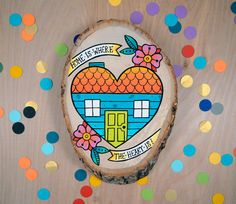 home is where the heart is / original cute retro kitsch painting on wood slice on Etsy, $65.00