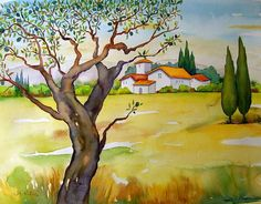"""Meltem Kilic, """"Mediterranean landscape with olive tree"""" / 2010  Mit einem Klick auf 'Als Kunstkarte versenden' versenden Sie kostenlos dieses Werk Ihren Freunden und Bekannten."""