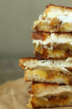 This grown up grilled cheese is stuffed with honey roasted pears, caramelized onions, creamy goat cheese and sharp cheddar.