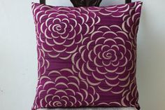Purple decorative throw pillow cover 18x18, Textured silk floral pillow, Silver Accent pillow