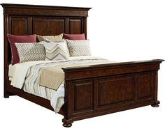 Master suite bed inspired by a paneled library in a grand country estate. Scaled for today with high headboard and lower footboard for balance.