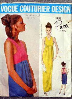 Vintage Vogue Pattern 1759 Emilio Pucci 60s Couturier Design