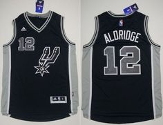 San Antonio Spurs #12 LaMarcus Aldridge Black New Road Stitched NBA Jersey