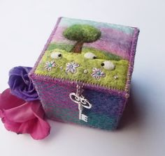 Trinket Box Harris Tweed and Felt with Sheep and Tree