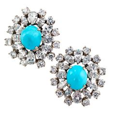 Elegant Turquoise Diamond Ear Clips   From a unique collection of vintage clip-on earrings at http://www.1stdibs.com/jewelry/earrings/clip-on-earrings/