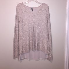 Plus size Maurices Band Top This is such a fun top! Has sequins throughout the knitted blouse with a sheer layer underneath. Only worn once. Maurices Tops Blouses