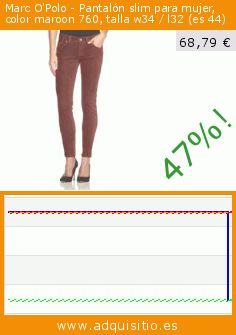 Marc O'Polo - Pantalón slim para mujer, color maroon 760, talla w34 / l32 (es 44) (Ropa). Baja 47%! Precio actual 68,79 €, el precio anterior fue de 129,90 €. https://www.adquisitio.es/marco-polo/marc-opolo-pantal%C3%B3n-slim-11
