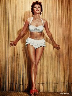 Rita Moreno models a ruffled, halter neck style in 1955 for MGM. Golden Age Of Hollywood, Hollywood Glamour, Hollywood Stars, Classic Hollywood, Old Hollywood, Rita Moreno, Divas, The Bikini, Queen