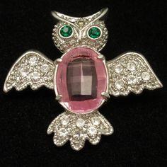 Owl Bird Pin Vintage Rhinestones Brooch Figural | eBay