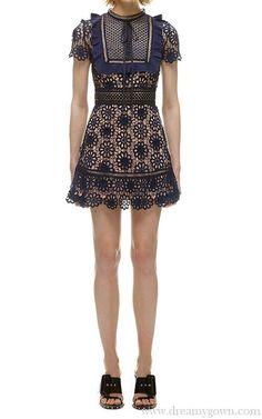6f3294ec3ea Lace Self Portrait Louisa Guipure Short Dress Sale