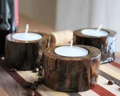 Little Scout - Set of 3 Rustic Tea Light Candle Holders    Adirondack Inspired Rustic Tea Light Candle Holders. Little Scout Approximately 2.75 inches wide by 1.5 inches high  (6.98 w x 3.81 h cm)  Made from a fallen Black Walnut tree branch.    • You will receive the set of candle holders pictured here.  • Comes with three tea light candles.  • Shipped via Priority Mail in a Small Flat Rate Box.    They look fantastic as a group!    We spend a great deal of time in the summer in the…