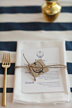 Nautical table decor: http://www.stylemepretty.com/new-jersey-weddings/avalon/2015/04/07/new-jersey-nautical-yacht-club-wedding/   Photography: Alison Conklin - http://alisonconklin.com/