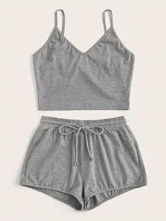 Solid Cami Top & Drawstring Waist Shorts - Solid Cami Top & Drawstring Waist Shorts Source by - Cute Pajama Sets, Cute Pjs, Cute Pajamas, Onesie Pajamas, Cami Tops, Girls Fashion Clothes, Teen Fashion Outfits, Girl Outfits, Emo Outfits