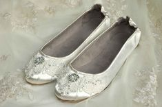 Wedding Shoes  Ballet Flats Vintage Lace Swarovski by pink2blue, $130.00