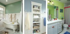 built-in storage saves precious floor space in a small bath