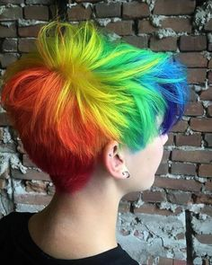 50 Stunning Rainbow Hair Color Styles Trending in 2019 Short Rainbow Hair, Short Dyed Hair, Short Hair Cuts, Short Hair Styles, Short Colorful Hair, Colored Short Hair, Short Hair Colors, Rainbow Dyed Hair, Long Hair