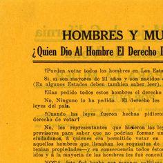 Dese a la mujer de California el derecho de votar :: TitleDese a la mujer de California el derecho de votar SubtitleVotos para la mujer DescriptionFlyer encouraging support for women's suffrage in California. Date1911Women's Suffrage and Equal Rights-Leaflet: 6 x 3.5 inches CollectionWomen's Suffrage and Equal Rights Collection - http://ccdl.libraries.claremont.edu/cdm/landingpage/collection/p15831coll5