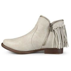 Women's Journee Collection Fringed Riding Booties - Stone (Grey) 6.5, Durable