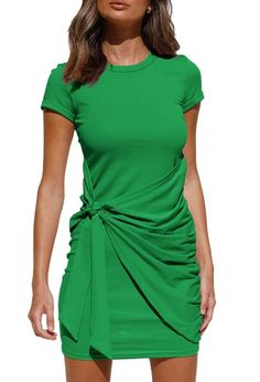 65% Polyester, 35% Rayon Tie closure Machine Wash ★FEATURE : Bodycon Dress, Spring and Summer Dress, Wrap Party Dress, Short Sleeve, Crew Neck, Tie Waist. With The Same Color Lining, Makes Sure Will Not See Through and Will Offer You First-Class Comfort.The Simple and Basic Dress Design Makes This Mini Dress Suitable for Most Lady's Body Shape. Trendy Clothes For Women, Summer Dresses For Women, Ruched Dress, Bodycon Dress, Tank Dress, Shirt Dress, Casual Dresses, Mini Dresses, Designer Dresses