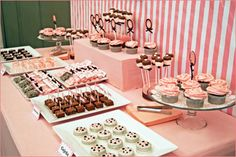 """Frosting and sprinkles"" themed dessert buffet to match cupcake theme. Packed with rice crispy treats, chocolate covered pretzel rods, caramel popcorn cones, individually wrapped brownies, simple brownie pops, sugar/pb/chocolate chip cookies"