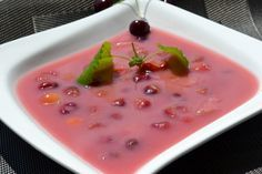 Gyümölcsleves is typically served as a chilled starter or a light summer dish. The most popular version of this refreshing delicacy is meggyleves, made from sour cherries, sour cream and a little sugar Fruit Soup, Soup Recipes, Cooking Recipes, Eat Pray Love, Summer Dishes, Tasty, Yummy Food, Hungarian Recipes, Soups And Stews