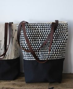 Tote bag by bookhouathome on Etsy. I really love the one with triangle pattern!!! Got to get it!