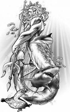 poseidon tattoo design More Mais Sea Tattoo, Ocean Tattoos, Octopus Tattoos, Shark Tattoos, Mermaid Tattoos, Body Art Tattoos, Sleeve Tattoos, Poseidon Tattoo, Poseidon Drawing