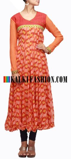 Buy Online from the link below. We ship worldwide (Free Shipping over US$100) http://www.kalkifashion.com/orange-printed-anarkali-kurti-with-resham-and-gotta-patti.html Orange printed anarkali kurti with resham and gotta patti