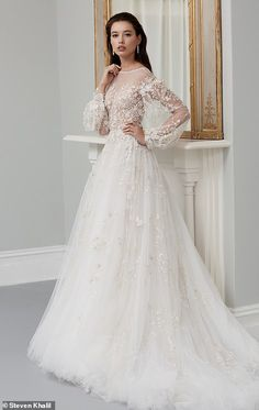 Leading designers share the bridal trends set to dominate in 2019 While romantic bridal styles never date, Steven Khalil said that they will be on trend more than ever in the next 12 months (pictured: his design) Dream Wedding Dresses, Bridal Dresses, Wedding Gowns, Winter Wedding Dress Ballgown, Wedding Reception, Lace Wedding, Wedding Ideas, Wedding Dress Silhouette, Grace Loves Lace