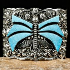 Cuff   Darrell Cadman (Navajo). Sterling silver and Sleeping Beauty turquoise.