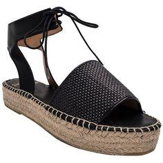 Andre Assous Women's Sage Open-Toe Flatform Espadrilles ($119) ❤ liked on Polyvore featuring shoes, sandals, black, black shoes, black espadrilles, black espadrille sandals, black ankle strap sandals and ankle strap platform sandals