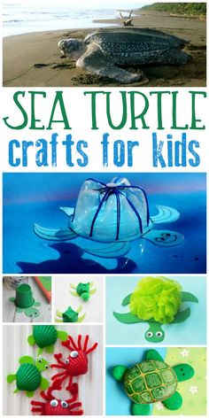 Ideas for Sea Turtle Crafts for kids of all ages to make. From simple toddler sea turtle crafts through to ideas for tweens and teens.