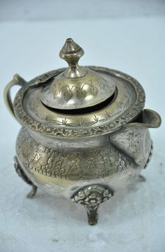 Old Brass Nickel Plated Engraved Unique Shape Milk / Tea / Coffee Pot