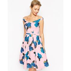 Chi Chi London Off Shoulder Full Prom Midi Dress In All Over Floral... ($64) ❤ liked on Polyvore featuring dresses, multi, tall dresses, pink midi dress, pleated midi dress, pink dress and floral print prom dresses
